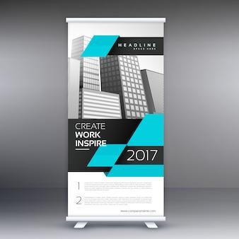 Moderne blauwe standee banner ontwerp met geometrische vorm