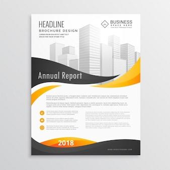 Moderne brochure flyer template design met gele en zwarte golvende vormen