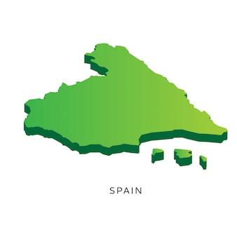 Moderne Isometrische 3D Spanje Kaart