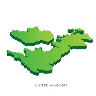 Moderne Isometrische Verenigd Koninkrijk Kaart