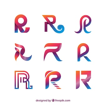 Moderne letter r logo collectie