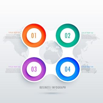 Moderne ronde vier stappen infographic ontwerp kan worden gebruikt in het bedrijfsleven diagrammen presentatie of workflow layout