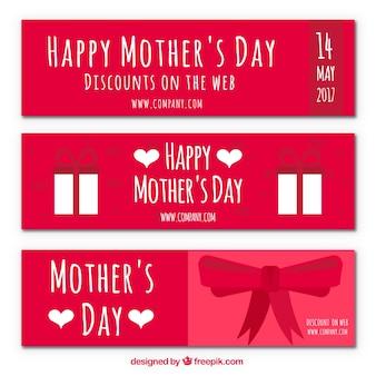 Moederdag discount banners met boog en geschenken