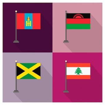 Mongolië Malawi Jamaica Libanon Flags