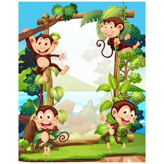 Monkeys achtergrond ontwerp