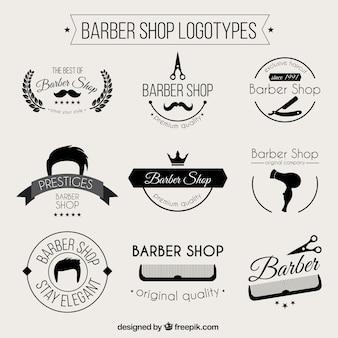 Monochromatische kapperszaak logos