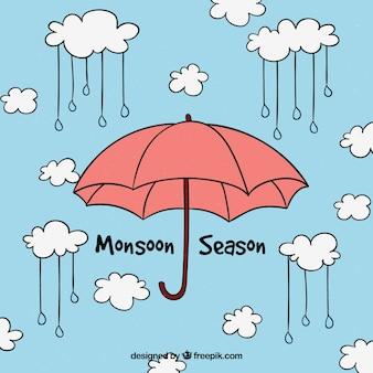 Monsoon achtergrond met paraplu
