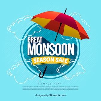 Monsoon achtergrond ontwerp