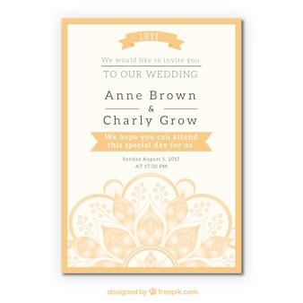 Mooi bruiloftkaart mandala ontwerp