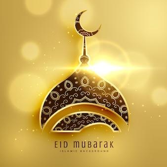 Mooi moskee ontwerp voor islamitisch eid festival met gouden decoratie