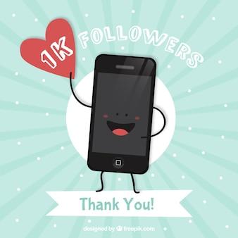 Mooie achtergrond van 1k mobiele volgers met een hart