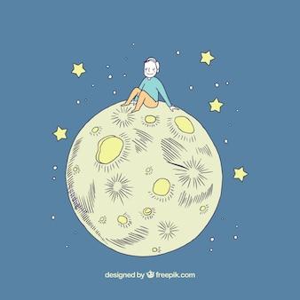 Mooie achtergrond van de jongen zittend op de maan