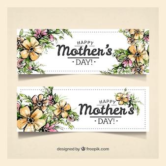 Mooie banners met bloemen voor moederdag