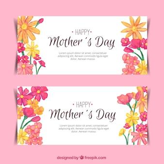 Mooie banners met florale decoratie voor moederdag
