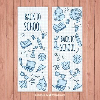 Mooie banners van de school met de hand getekende elementen