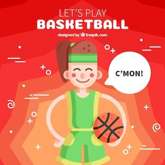 Mooie basketbalspeler achtergrond
