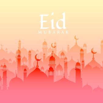 Mooie eid festival achtergrond met moskee silhouet