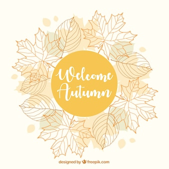 Mooie herfst achtergrond met een bloemenframe