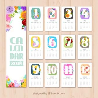 Mooie kalender met gekleurde bloemen