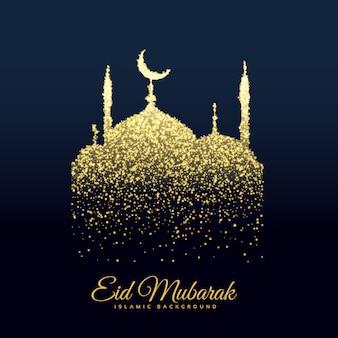 Mooie moskee gemaakt met glitters achtergrond