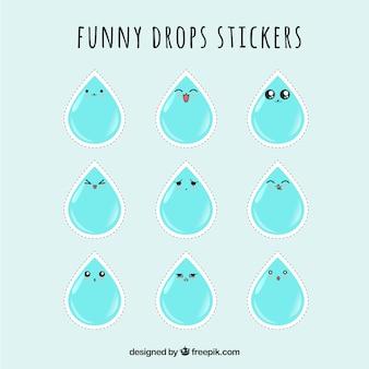 Mooie set waterdruppels stickers