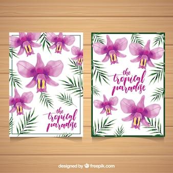 Mooie tropische aquarel bloemen kaarten