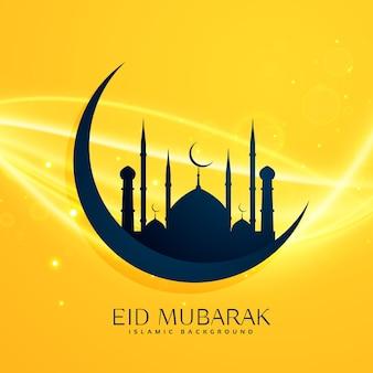 Moslim religie eid festival groet ontwerp met maan en moskee