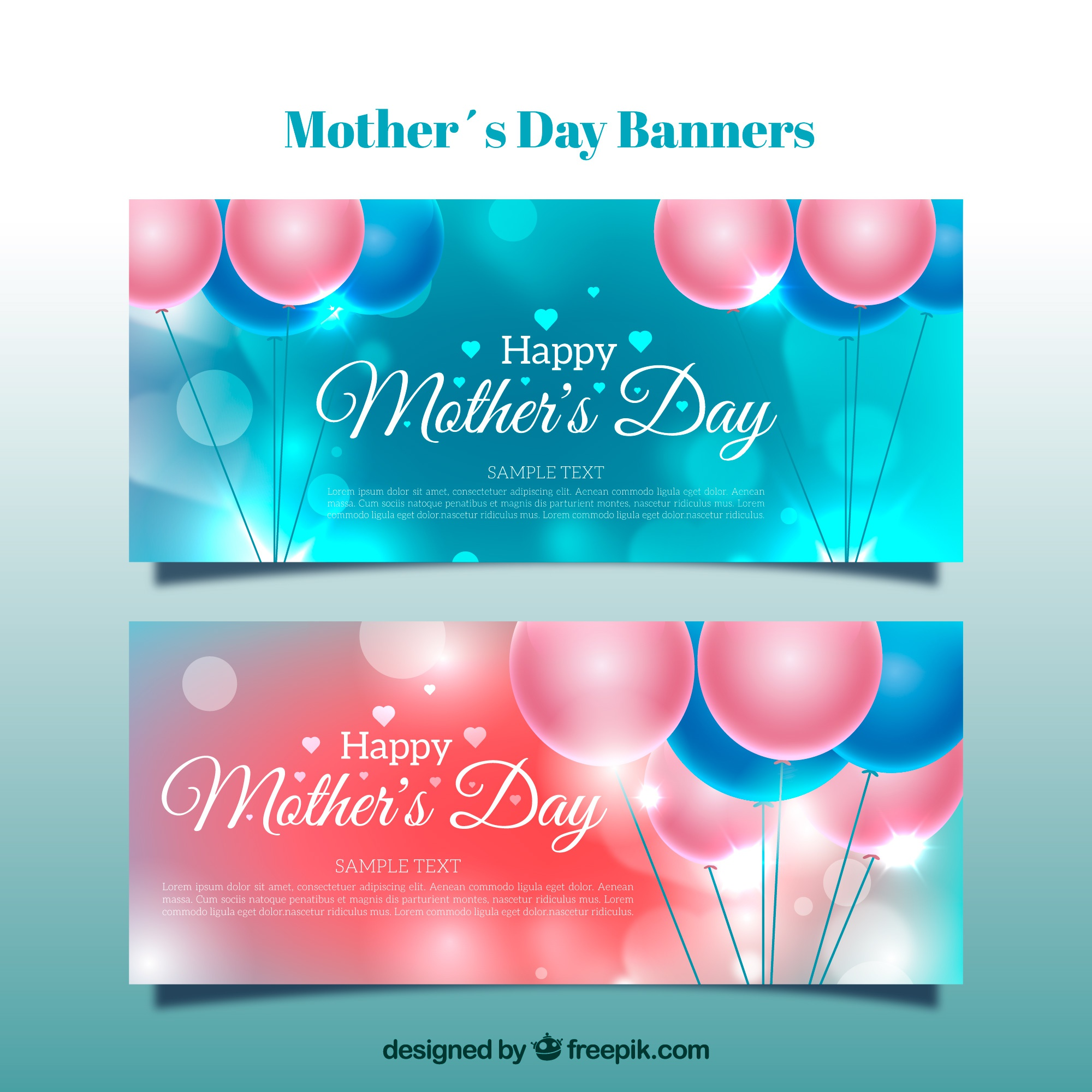 Mother's day banners met ballonnen en bokeh effect