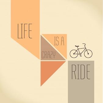 Motivatiecitaat Het leven is een gekke Creatieve Vector Typografie Concept