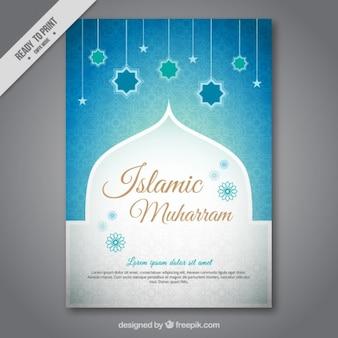 Muharram brochure met blauwe sterren decoratie