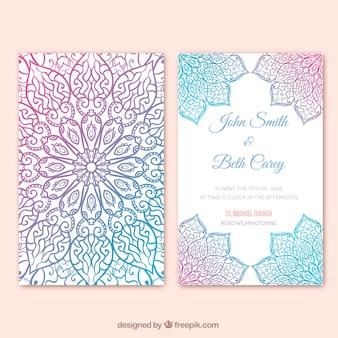 Multicolor trouwkaart mandala ontwerp