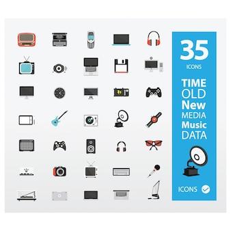 Multimedia en muziek iconen