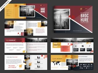 Multipage Brochure, Pamflet Design Pack in gele en rode kleur