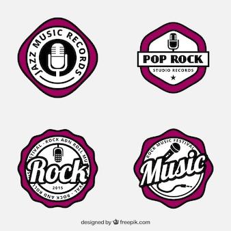 Muziek badges in retro stijl