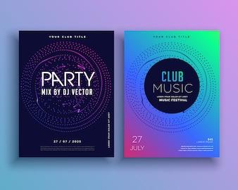 Muziek club party flyer template ontwerp vector