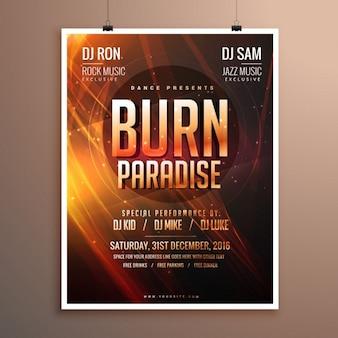 Muziek partij flyer sjabloon kaart met abstracte brand thema