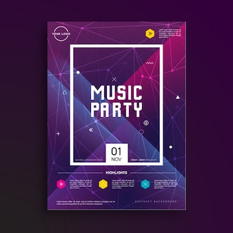Muziek party poster template