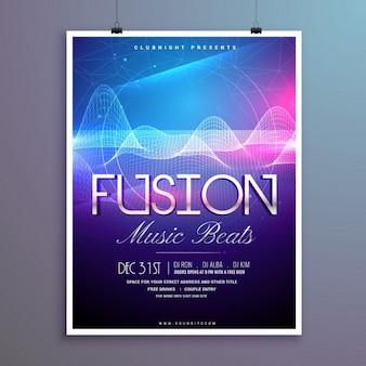 Muziek slaat partij flyer sjabloon met geluidsgolven en kleurrijke verlichting