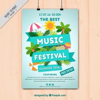 Muziekfestival poster met de zomer elementen