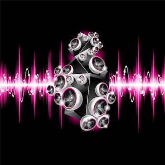 Muzikale achtergrond met roze geluidsgolven