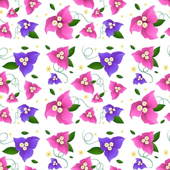 Naadloos achtergrondontwerp met bougainvillea bloemen