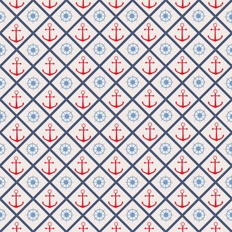 Naadloos patroon met kruislijnen, stuurwiel en anker.