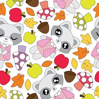 Naadloos patroon met schattige wasbeer meisjes, appel, paddestoel, en mapple bladeren op witte achtergrond vector cartoon geschikt voor Kid herfst seizoen behang ontwerp, schroot papier en kind stof kleding achtergrond