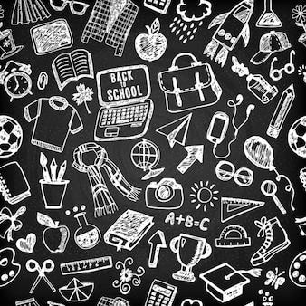 Naadloos patroon van school Terug naar school illustratie Schets set