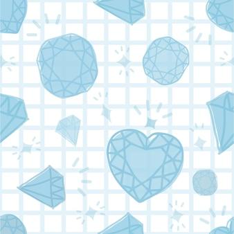 Naadloze blauwe diamant patroon op witte achtergrond