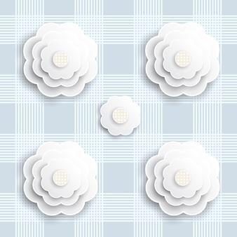 Naadloze blauwe papier bloem op blauwe streep patroon achtergrond