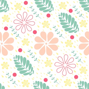 Naadloze kleurrijke bloemen met bladeren en punt patroon achtergrond