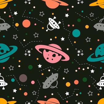 Naadloze kleurrijke ruimtepatroon achtergrond van planeten, raketten en sterren