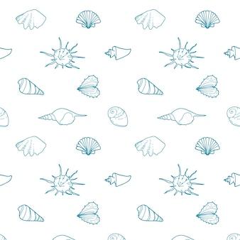 Naadloze vector patroon met schelpen van verschillende vormen.