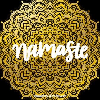 Namaste achtergrond met gouden mandala